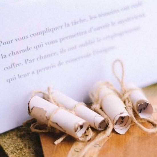 Les témoins sont dans la confidence de l'énigme pour guider les invités. Julie Nagy Wedding Planner Lyon