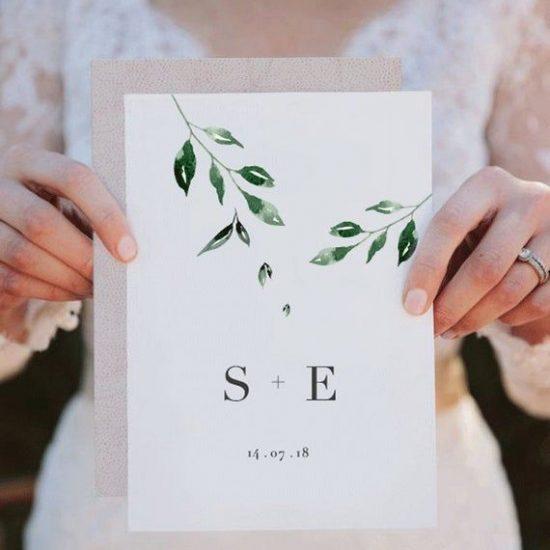 Faire-part mariage minimaliste. Décoration de mariage 2020 2021. Julie Wedding Planner Lyon.